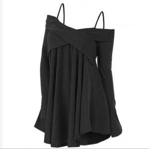 Black Cold Shoulder Crisscross Wrap Tunic